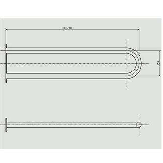 Stützgriff U-Form 813mm, weiß