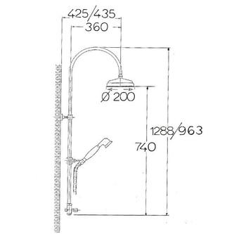 ANTEA Duschsäule ohne Armatur, mit Kopf- und Handbrause, 963-1288mm, Chrom