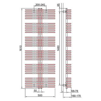 ASTRA Heizkörper 500x1610 mm, 1258 W, weiss