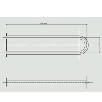 Stützgriff U-Form 813mm, Edelstahl