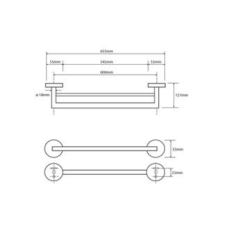 X-ROUND  2-Fach Handtuchhalter 655mm, Chrom