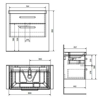 THEIA Unterschrank 75,6x50x43,5cm, 2xSchublade, Silbereiche