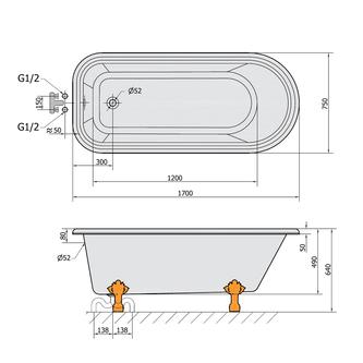 FOXTROT freistehende Badewanne 170x75x49cm, Füße weiß