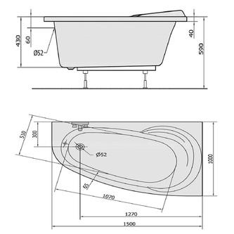NAOS 150 R Badewanne mit Füßen 150x100x43cm, rechts, weiß