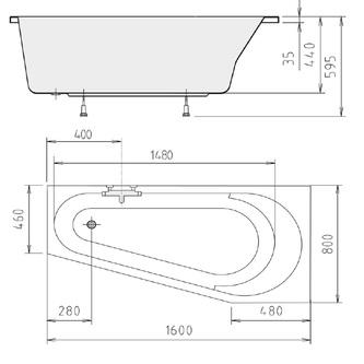Raumspar Badewanne mit Füßen 160x80x44cm, rechts, weiß