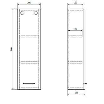 ZOJA Oberschrank, 20x70x14cm, weiß