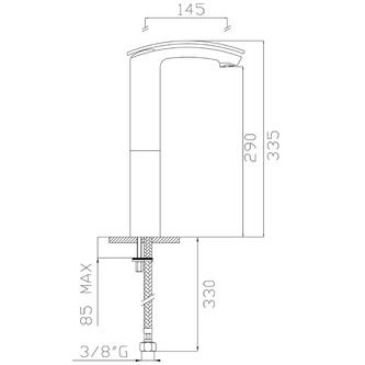 FLO Waschtischarmatur, 355mm ohne Ablaufgarnitur, Chrom