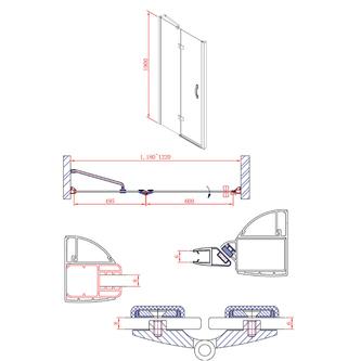 LEGRO Duschtür für Nische 1200mm, Klarglas