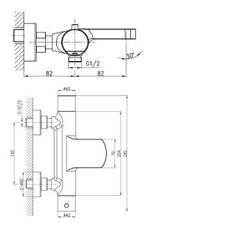 KIMURA Thermostat-Wannenarmatur, Chrom