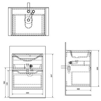 WAVE Unterschrank 60x65x48cm, weiß / Silbereiche