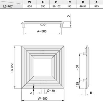 PROPOLI Heizkörper 650x650mm, 380 W, Silber strukturell