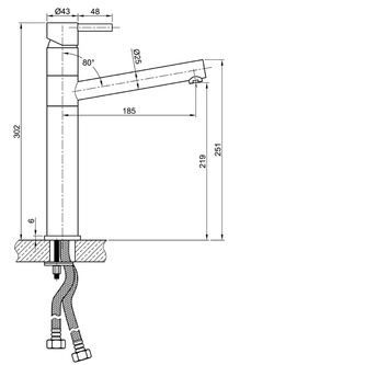 MINIMAL Küchenarmatur 302mm Edelstahl
