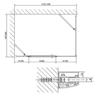 VITRA LINE Duschabtrennung Rechteck 1300x900mm, links, Klarglas