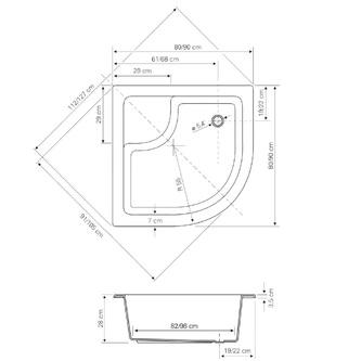 Acryl-Duschwanne, Viertelkreis 90x90x28cm inkl. Füßen, R550