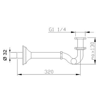 Bidet-Siphon 1'1/4, Abfluss 32mm, bronze