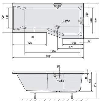 VERSYS R asymmetrische Badewanne 170x84x70x47cm, rechts, weiß