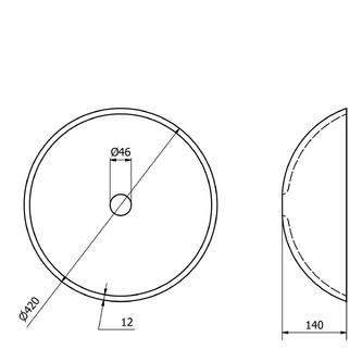 RIPPLE Glas-Waschbecken Durchmesser 42 cm