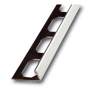 Edelstahl Fliesenschiene, Oberfläche Feinschliff,  250cm lang, 9mm hoch