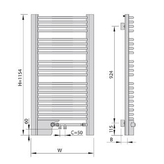 EGEUS Heizkörper 595x1154mm, 669W, bronze