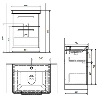 THEIA Unterschrank 56,4x70x43,5cm, 2xSchublade, Kiefer Rustikal