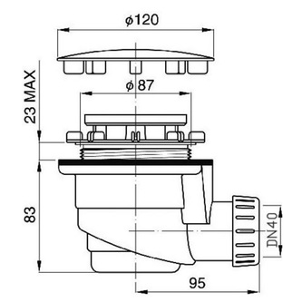 Duschwannen-Siphon 90mm mit Edelstahlabdeckung