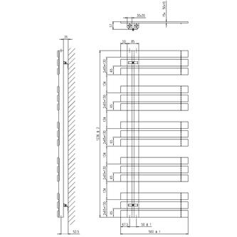 SILVANA Heizkörper 500x1236mm Anthrazit metall