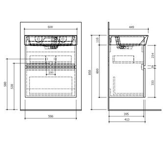 LARGO Unterschrank 59x60x41cm, Kiefer Rustikal