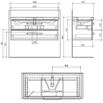 THEIA Unterschrank 101,4x43,2x43,5cm, 2xSchublade, Kiefer Rustikal