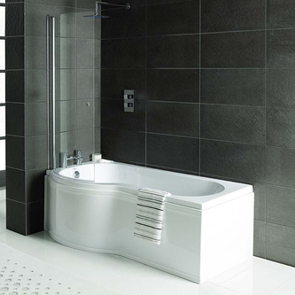Raumspar Badewanne mit Duschzone 167,5x85/75cm links weiß Komplett-Set