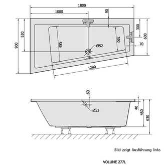 Raumspar Badewanne ANDRA, 180x90x45cm, links, weiß