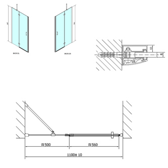 VITRA LINE Duschtür 1100mm, links, Klarglas