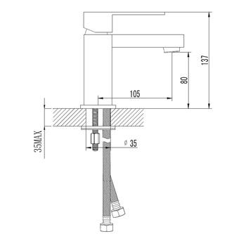 LATUS Waschtischarmatur ohne Ablaufgarniturgarnitur,140mm,  Chrom