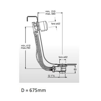 Bronze Ablaufgarnitur mit Einlauf, Länge 675mm, Stöpseldurchmesser 42mm
