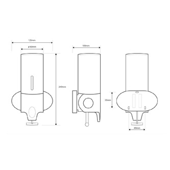 Seifenspender 350 ml, Edelstahl, 122x240x110 mm