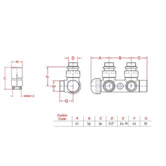 TWIN Thermostat-Anschlusset für Mittelanschluss, links, Chrom