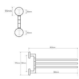 X-ROUND  3-Fach Handtuchhalter drehbar 450mm, Chrom