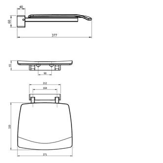 Duschklappsitz 37x38cm, weiß