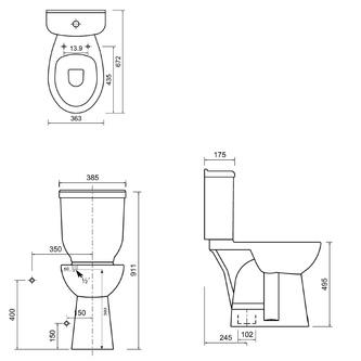 Kombi-WC für Behinderte, 36,3x67,2cm, Abgang senkrecht