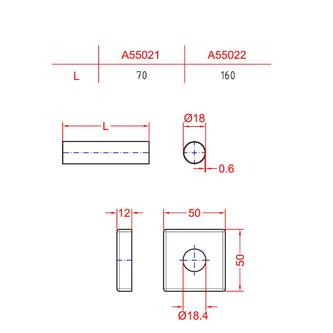 Abdeck-Rosette quadratisch, gebürsteter Edelstahl
