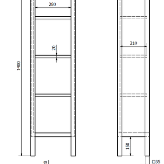 BRAND Schrank mit Ablagen 35x140x25cm, Fichte gebeizt