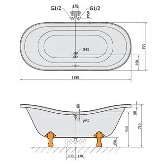 CHARLESTON freistehende Badewanne 188x80x41cm, Füße Chrom