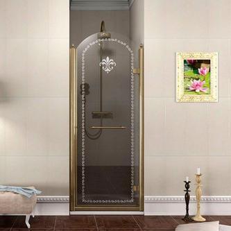 ANTIQUE Duschtür 800mm, rechts, Klarglas mit Dekor, bronze