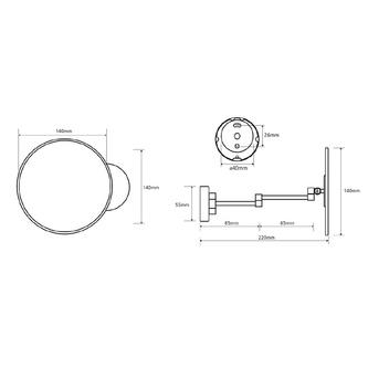 X-ROUND E Kosmetikspiegel ohne Beleuchtung, schwenkbar, O140mm, Chrom