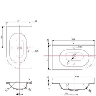 PULSE Gussmarmor-Waschtisch 75x4,4x45cm, links, weiß