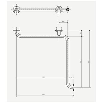 Haltegriff für die Dusche 670x670mm, weiß