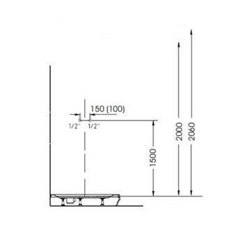 MOLA Duschpaneel 210x1300mm mit Thermostat-Armatur, Wandmontage