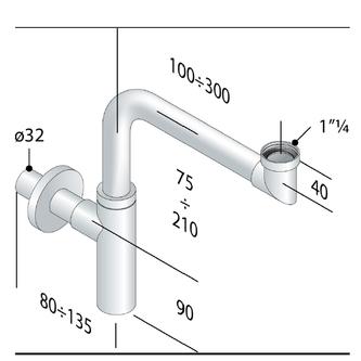TOTI Waschtisch-Siphon, platzsparend, 1'1/4-32, Chrom