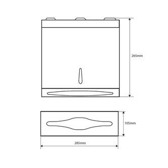 Papiertuchspender 285x265x105mm, gebürsteter Edelstahl