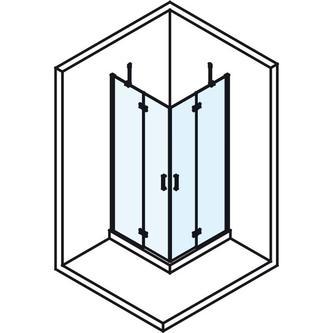 VITRA LINE Duschabtrennung Quadrat mit Eckeinstieg 900x900mm, Klarglas