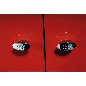 AILA Hochschrank mit Wäschekorb 35x140x30cm, links, rot/schwarz